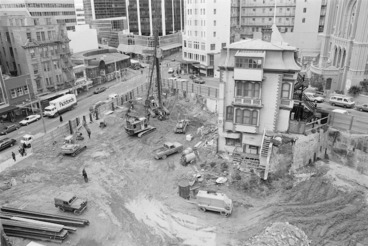 Image: Construction site on the corner of Willis and Boulcott Streets, Wellington - Photograph taken by John Nicholson