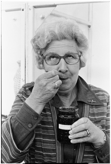 Image: Mrs Margaret Foster samples raspberry jam at the Manawatu Agricultural and Pastoral Show