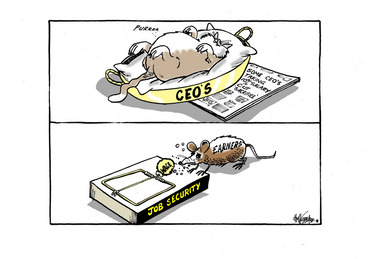 Image: A fat cat sleeping happily in the 'CEOS' basket while taking a 10% salary cut as the 'Earners' mouse nibbles on a small 'wage' bait in the mousetrap of 'Job security'