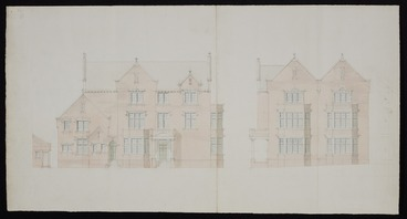Image: [Thomas Turnbull & Son :Residence Bowen Street for A H Turnbull Esq[uir]e. February 1916. Elevation only in pencil & pale watercolour]