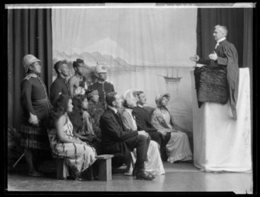 Image: Tableau, re-enacting Maori and Europeans attending a New Zealand church service held by an early Christian missionary, at the East and West Missionary Exhibition, Wellington Town Hall