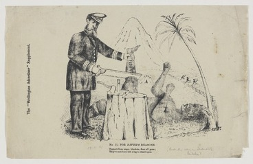 Image: Pharazyn, Edward, 1835-1890 :For diver's reasons. No. 11. Support from sugar, blankets, flour all gone; They've not been left a leg to stand upon. The Wellington Advertiser supplement, 19 November 1881.