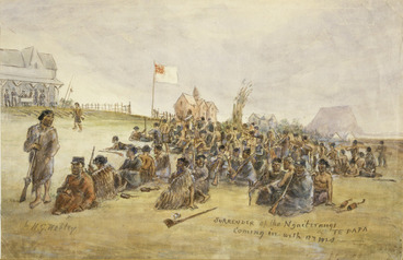 Image: Robley, Horatio Gordon 1840-1930 :Surrender of the Ngaiterangi at Te Papa - coming in with arms