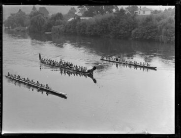 Image: Three waka taua on the Waikato River [Royal visit?]