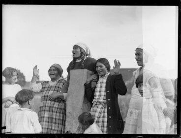 Image: Group of wāhine singing waiata, Korohe marae