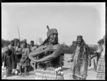 Image: Unidentified Maori woman performing an action song, location unidentified