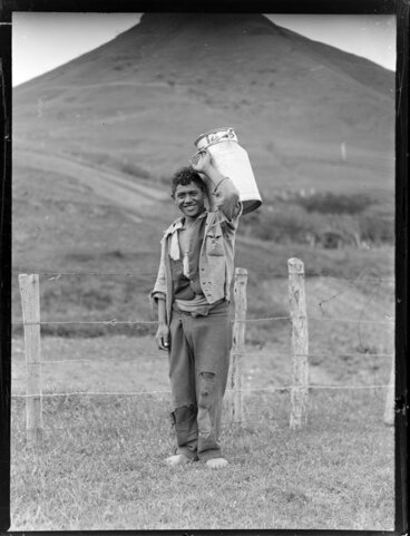 Image: Māori boy carrying a milk container, Waiotaka