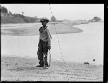 Image: Maori boy carrying fish, Waikato