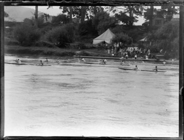 Image: Canoe racing on the river, Waikato