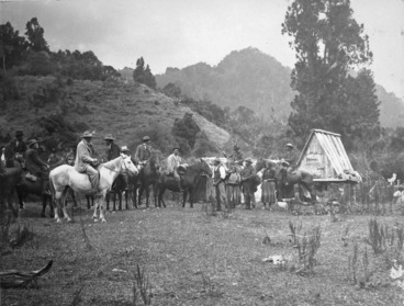 Image: Ross, Malcolm, 1862-1930 :[Lord Ranfurly and party at a rest on the Huia-rau trail]