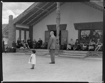 Image: Sir Peter Buck giving speech at his welcoming ceremony, [Tūrangawaewae marae,] Ngāruawāhia, Waikato