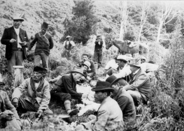 Image: Ross, Malcolm, 1862-1930 :Lord Ranfurly's party at lunch during journey from Waikaremoana to Ruatoki