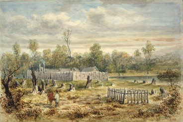 Image: Painting of Boulcott's stockade in Hutt Valley