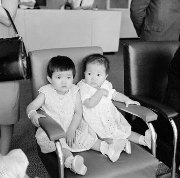 Image: Chinese girls arriving in Wellington for adoption, 1963