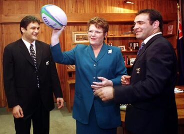 Image: Jenny Shipley and rugby captains