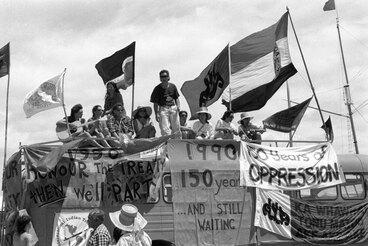 Image: Protesting the 150th anniversary of the Treaty of Waitangi