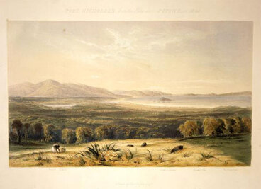 Image: 'Port Nicholson from the hills above Pitone in 1840'