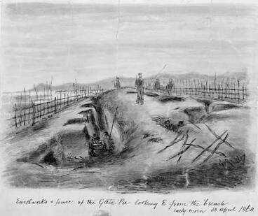 Image: A view inside Gate Pā, 1864