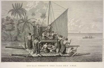 Image: Double-hulled canoe, Tonga, 1790s