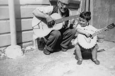 Image: Making music, Tasman Street, Wellington, 1964