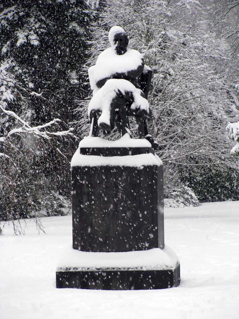 25th Jul 2011 - Snow - Botanic Gardens #4 - William Sefton Moorhouse Statue
