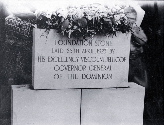 The foundation stone of the Bridge of Remembrance