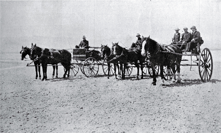 Horses and carriage at the Waiau River Bed, after crossing the stream from Cheviot, North Canterbury