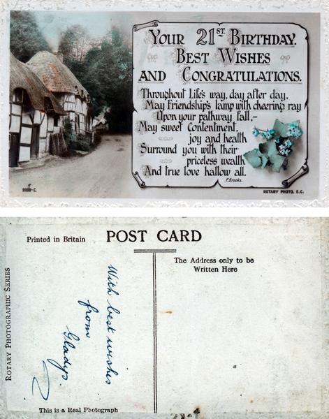 21st birthday post-card from Gladys : digital photograph
