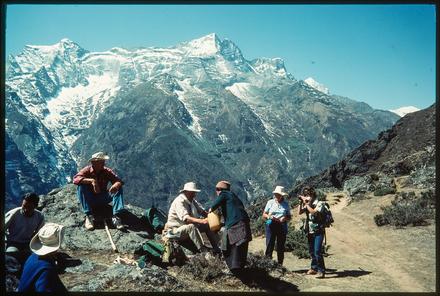 [Sir Edmund Hillary, Lady June Hillary  hiking rest stop, Nepal]