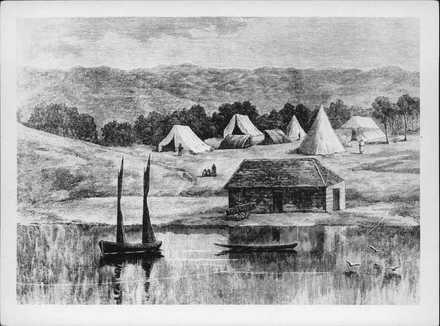 Waterfront showing tents of settlers