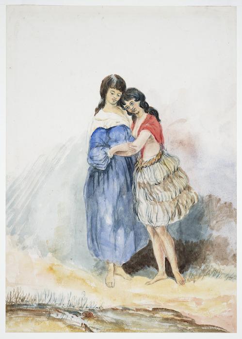 Oliver, Richard Aldworth, 1811-1889 :[Two young Maori women. ca 1850]