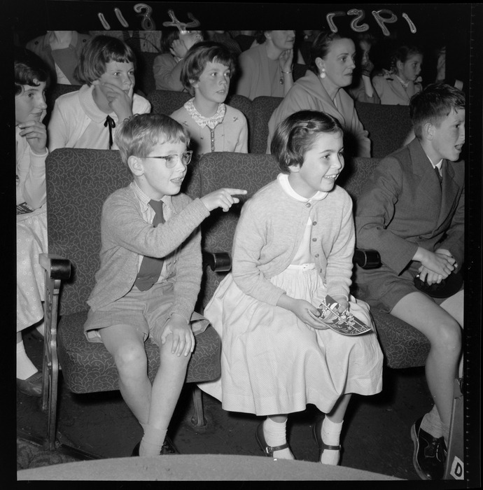 Children and parents, watching the pantomime, Wellington