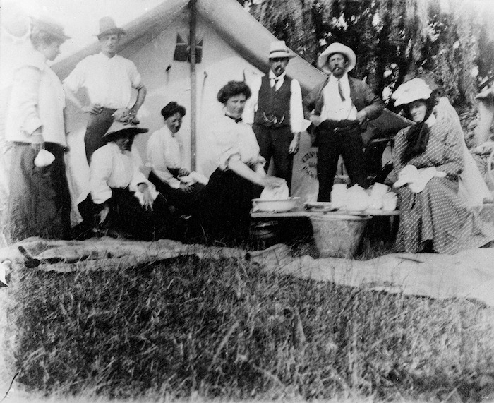Group, including Katherine Mansfield, at Galatea, Whakatane District