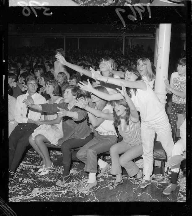 Teenage fans at the Walker Brothers concert in the Wellington Town Hall