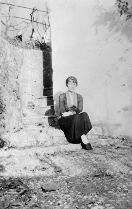 Katherine Mansfield in the garden at Villa Isola Bella, Menton, France