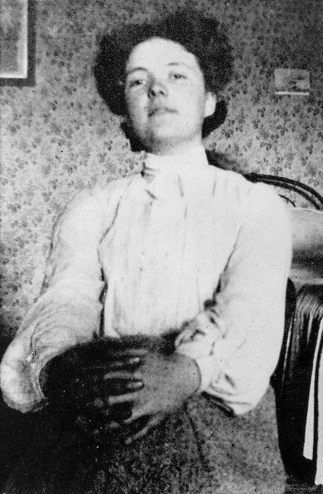 Informal portrait of Katherine Mansfield at Queen's College, London