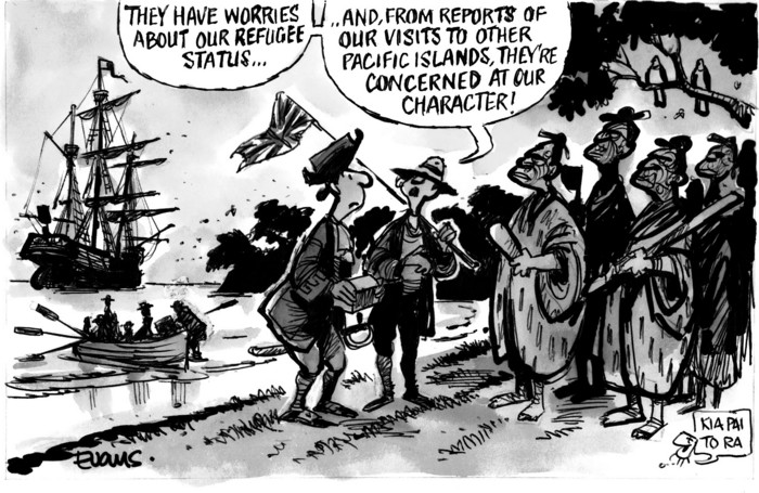 """Evans, Malcolm Paul, 1945- :""""They have worries about our refugee status... and, from reports from our visits to other Pacific islands, they're concerned at our character!"""" 21 May 2012"""