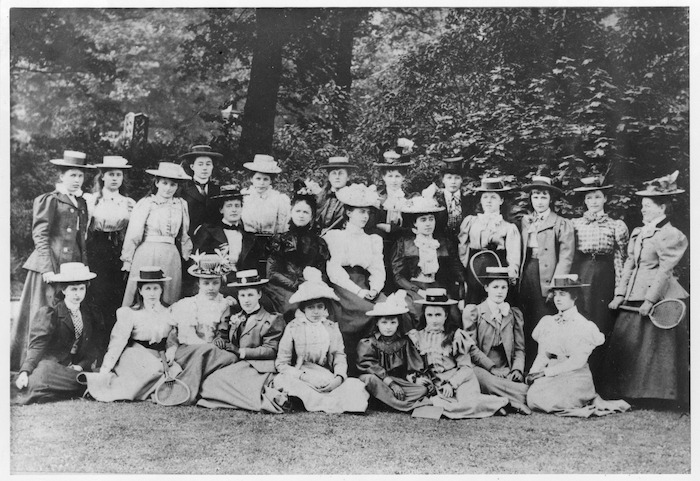 Class photo of the boarders of London's Queens College with Miss Clara Wood, Regents Park, London