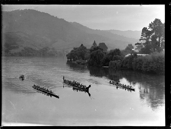 Waka (canoes) on Waikato River at Ngaruawahia
