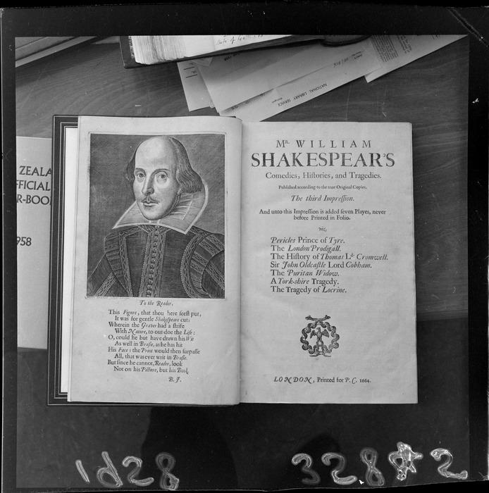Folio of Shakespeare's books, on display at Alexander Turnbull Library, Bowen Street, Wellington