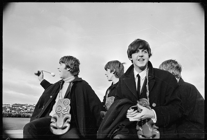 The Beatles at Wellington Airport during their New Zealand tour