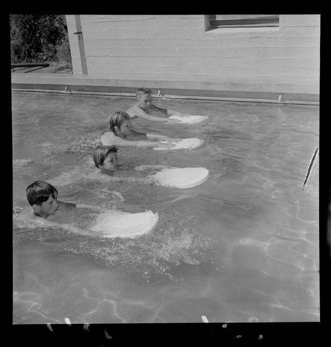 Children learning to swim at Wadestown School, Wellington