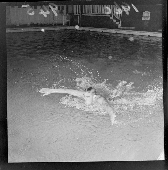 Swimmer Peter Hatch demonstrates 'butterfly stroke' swimming