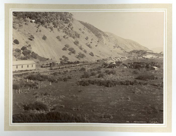 View of Paekakariki, showing the railway station and yards