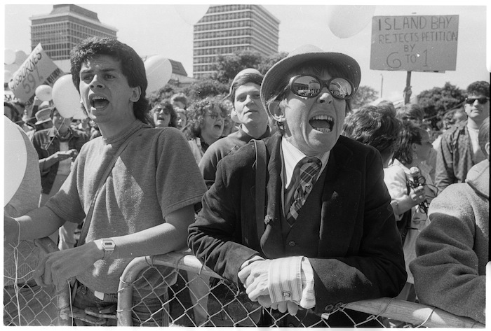 Protest against petition opposing the Homosexual Law Reform Bill - Photograph taken by Greg King
