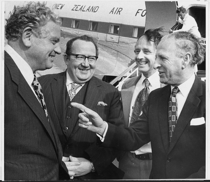Norman Kirk on his arrival back from Canada for `Commonwealth Heads of Government' (CHOGM) meeting