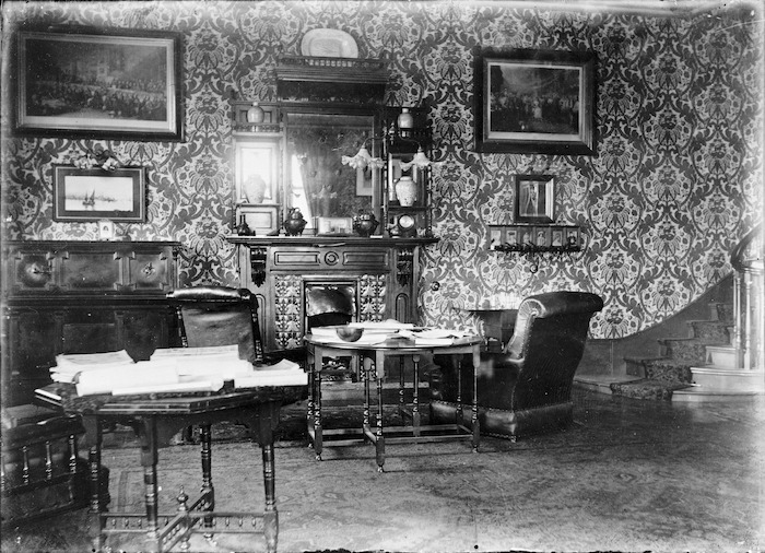 Interior of the billiard room at the house called Elibank, fronting on to Bowen Street and The Terrace, Wellington