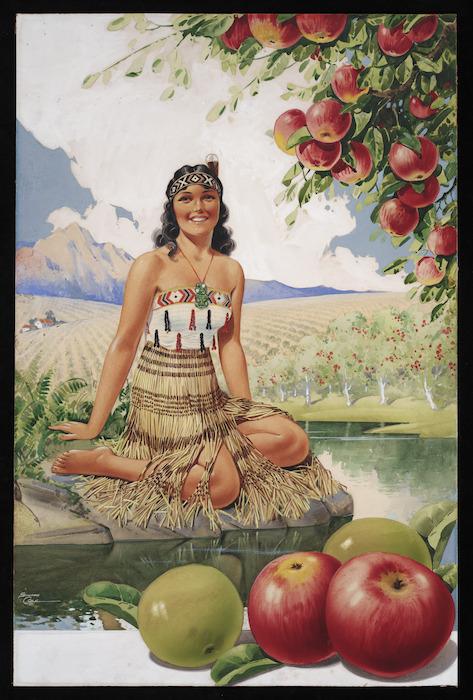 Cole, Edward, fl 1930s :[New Zealand apples with Maori woman. 1930s?]