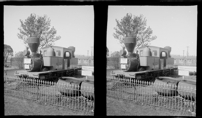 View of the E Class Double-ended Fairlie Steam Locomotive Josephine assembled in '1872' beside whaling pots, Otago Settlers Museum, Dunedin