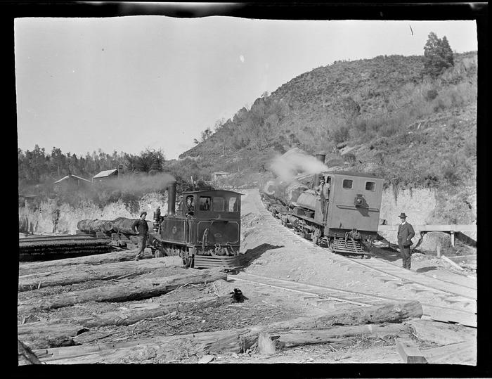 William Williams and unidentified workmen with stream trains bringing logs to the Kakahi Sawmill, Kakahi Settlement, Manawatu-Whanganui Region